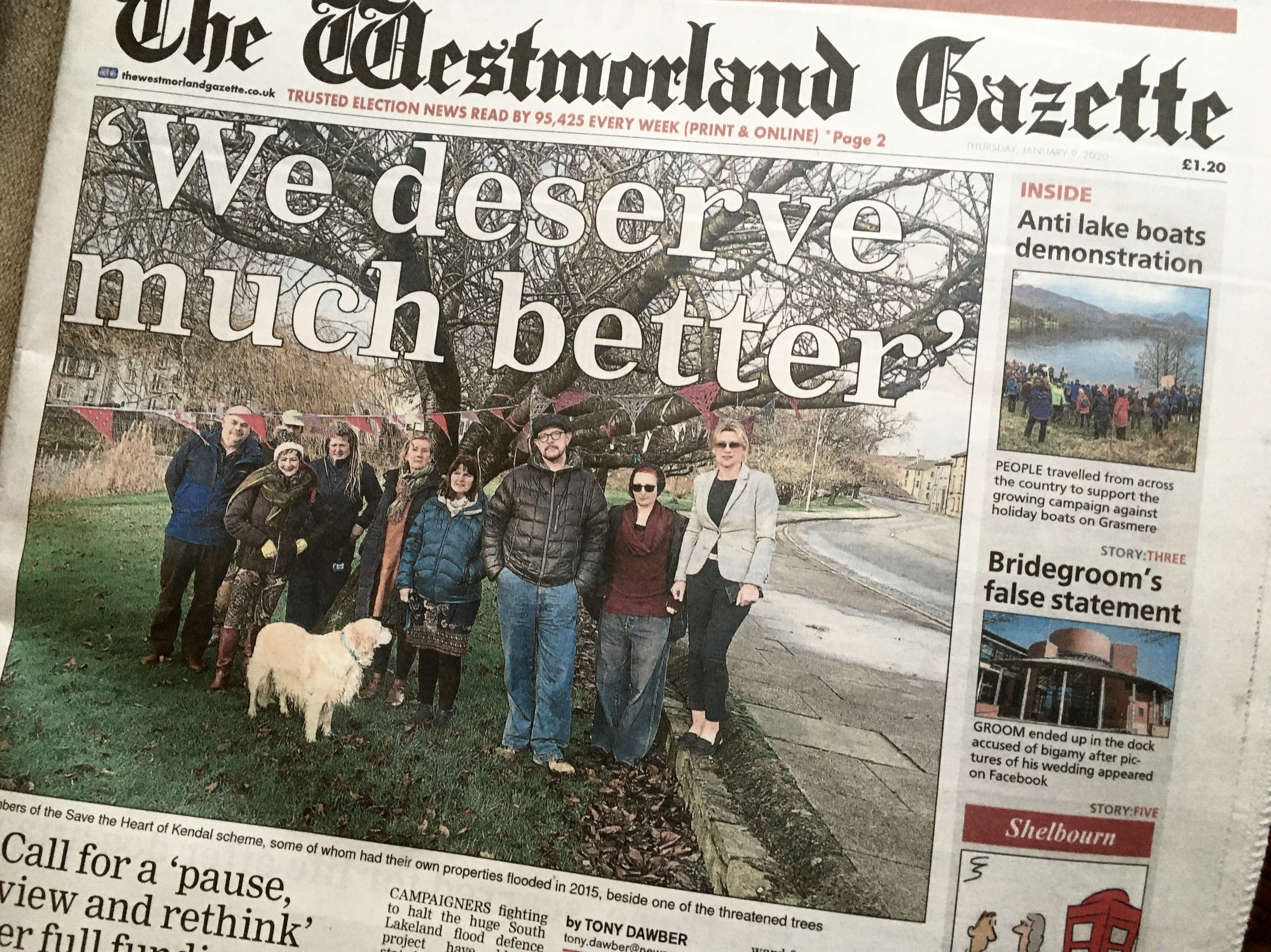 Save The Heart of Kendal on the front page of the Westmorland Gazette
